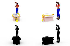 3d woman home security concept Collections With Alpha And Shadow Channel Royalty Free Stock Image