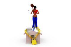 3d woman home security concept Stock Images