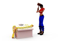 3d woman home security concept Royalty Free Stock Photography