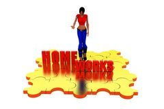 3d woman home work concept Stock Images