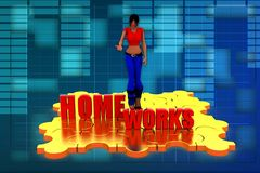 3d woman home work illustration Stock Image