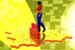 3d woman home work  illustraton Royalty Free Stock Photography