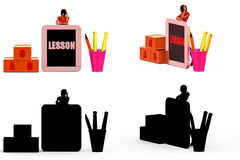 3d woman homework concept Collections With Alpha And Shadow Channel Stock Image