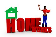 3d woman homeworks concept Royalty Free Stock Photo