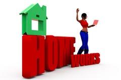 3d woman homeworks concept Stock Photo