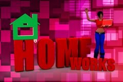 3d woman homeworks illustration Royalty Free Stock Photography