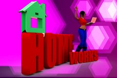 3d woman homeworks illustration Royalty Free Stock Images