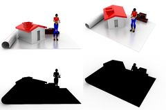 3d woman house plan Concept Collections With Alpha And Shadow Channel Stock Photography