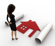 3d woman with house plan on paper scroll concept Stock Photo