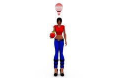3d woman idea fruit concept Stock Photos