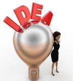 3d woman with idea silver bulb concept Royalty Free Stock Photos