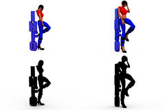 3d woman info concept Collections With Alpha And Shadow Channel Stock Image