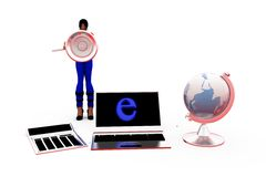 3d woman internet concept Stock Image