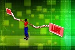 3d woman job life illustration Stock Photography