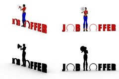 3d woman job offer Concept Collections With Alpha And Shadow Channel Royalty Free Stock Photo