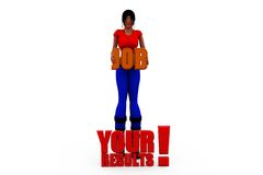 3d woman job result concept Royalty Free Stock Photos