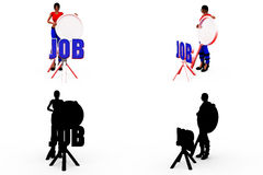 3d woman job search concept Collections With Alpha And Shadow Channel Royalty Free Stock Photo