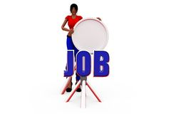 3d woman job search concept Royalty Free Stock Images