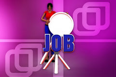 3d woman job search  illustration Royalty Free Stock Images