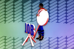 3d woman job search  illustration Royalty Free Stock Photography