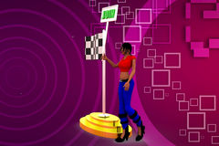 3D woman join flag illustration Royalty Free Stock Photo