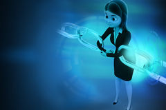 3d woman joining chain hologram Royalty Free Stock Photos