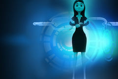 3d woman joining chain hologram Stock Photo