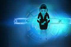 3d woman joining chain hologram Royalty Free Stock Image