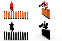 3d woman jump on wall concept Collections With Alpha And Shadow Channel Royalty Free Stock Photo