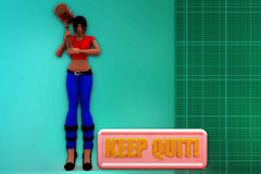 3d woman jump on wall illustration Royalty Free Stock Photo