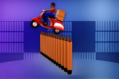 3d woman jump on wall illustration Stock Photography