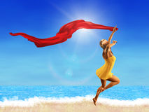 Woman with red scarf on the beach Royalty Free Stock Images