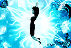 3d woman jumping with high hands illustration Stock Photo
