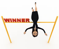 3d woman jumping over victory post with winner text on it concept Royalty Free Stock Images