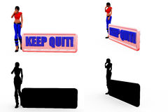 3d woman keep out concept Collections With Alpha And Shadow Channel Stock Images