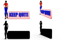 3d woman keep out concept Collections With Alpha And Shadow Channel Royalty Free Stock Image