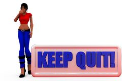 3d woman keep out concept Royalty Free Stock Photos