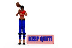 3d woman keep quit concept Stock Photo