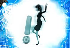 3d woman kick golden exclamation mark illustration Royalty Free Stock Photography