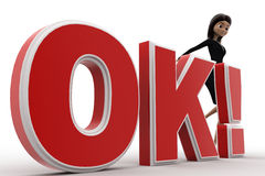 3d woman kicking OK text with exclamation mark concept Royalty Free Stock Photo