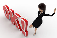 3d woman kicking OK text with exclamation mark concept Royalty Free Stock Photography