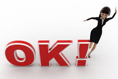 3d woman kicking OK text with exclamation mark concept Stock Photography
