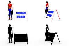 3d woman language barrier concept Collections With Alpha And Shadow Channel Royalty Free Stock Photos