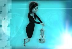 3d woman with lantern illustration Royalty Free Stock Photography