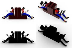 3d woman with laptop Concept Collections With Alpha And Shadow Channel Stock Images