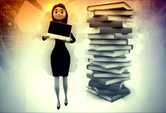 3d woman with laptop and files illustration Royalty Free Stock Photos