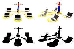 3d woman laptop network concept Collections With Alpha And Shadow Channel Royalty Free Stock Photo