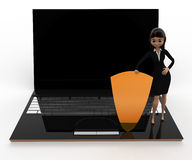 3d woman with laptop shield security concept Stock Photos
