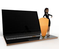 3d woman with laptop shield security concept Royalty Free Stock Photos