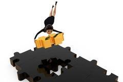3d woman last puzzle piece concept Royalty Free Stock Images